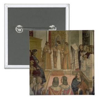 Choral Scene, from the Life of St. Benedict (fresc 15 Cm Square Badge
