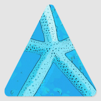 Choral Starfish Blue Triangle Stickers