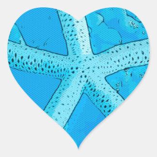 Choral Starfish Blue Heart Sticker