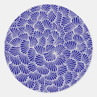 chorale blue mandala round sticker