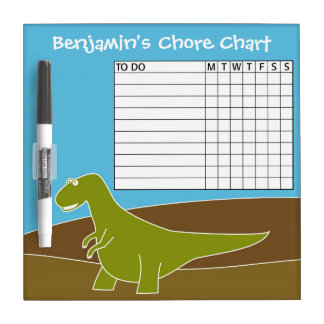 Chore Chart Cute Cartoon Dinosaur Dry Erase Board