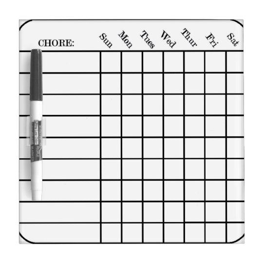 Chore Chart Small w/ Pen Dry Erase Board
