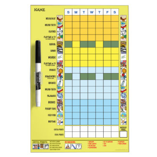 Chore/Schedule Chart for Preschooler Dry Erase Board