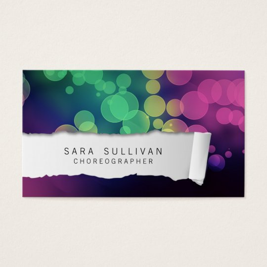 Choreographer Dancer Talent Colourful Ripped Paper Business Card