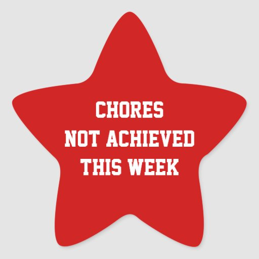 Chores not achieved this week Star shaped sticker