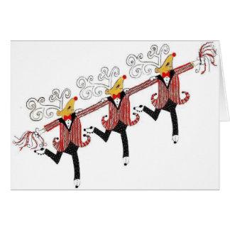 Chorus Line of Dancing Reindeer Greeting Card