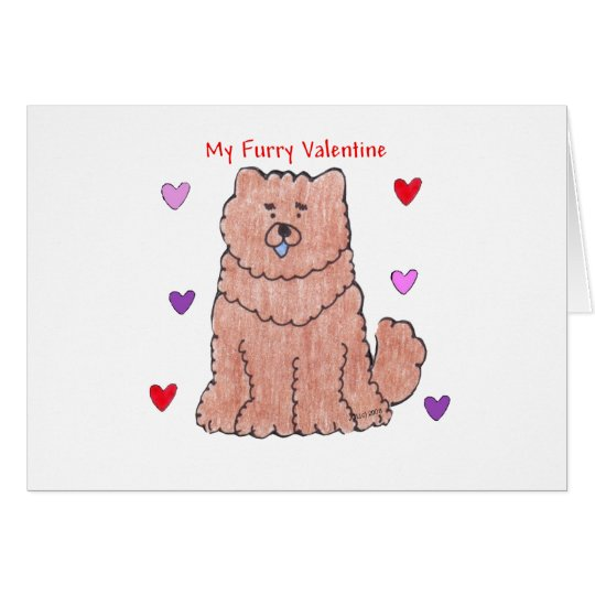 Chow Chjow Red Furry Valentine Card
