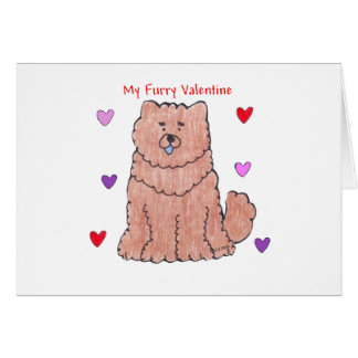 Chow Chjow Red Furry Valentine Greeting Card