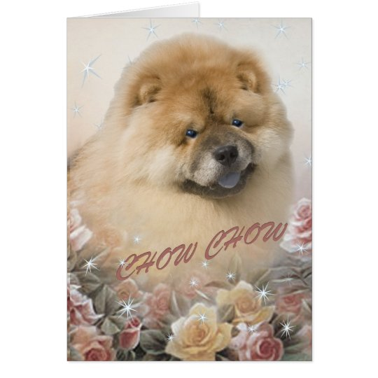 CHOW CHOW among roses cards