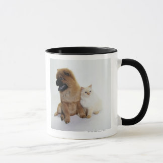 Chow Chow and a White Cat Sitting Together Mug