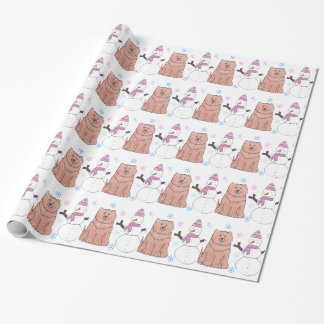 Chow Chow And Snowman Wrapping Paper