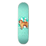 Chow Chow; Aqua Green Chevron Custom Skateboard