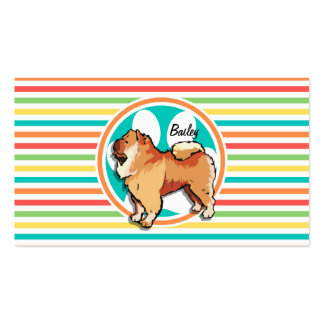 Chow Chow Bright Rainbow Stripes Business Cards