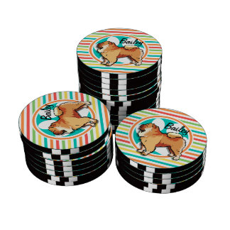Chow Chow; Bright Rainbow Stripes Poker Chips Set