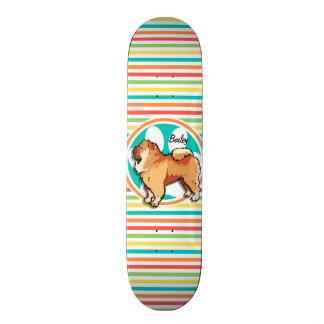 Chow Chow; Bright Rainbow Stripes Skate Deck
