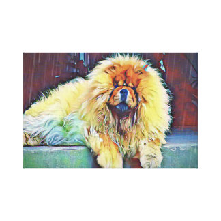Chow Chow Dog on Porch in the Rain Canvas Print