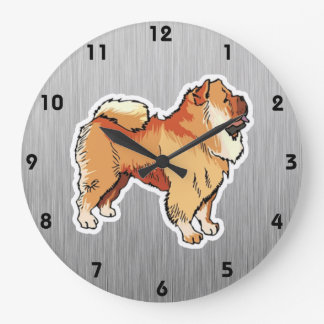 Chow Chow; metal look Large Clock