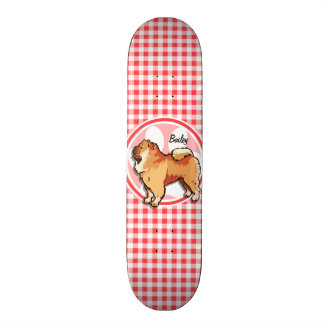 Chow Chow; Red and White Gingham Skateboard Deck