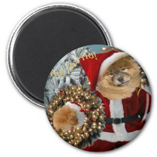 Chow Chow Santa Paws 6 Cm Round Magnet