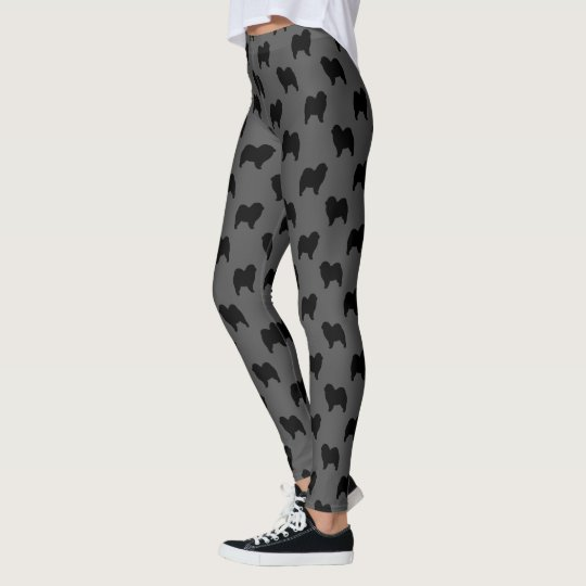 Chow Chow Silhouettes Pattern Grey and Black Leggings