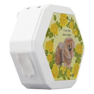 Chow Chow with Yellow Roses White Bluetooth Speaker