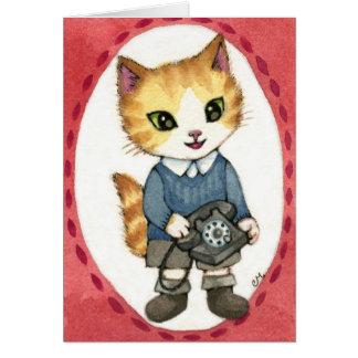 Chow - Cute 1950s retro telephone cat art Card