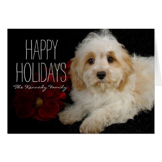 Chrirstmas Cavachon puppy Card