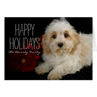 Chrirstmas Cavachon puppy Greeting Card