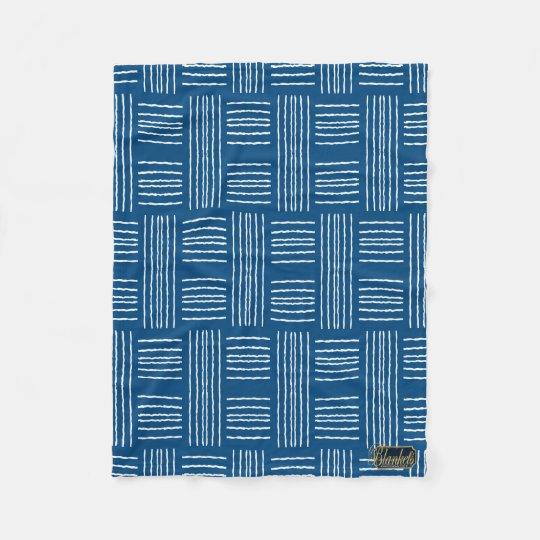 Chris Cross Lines Blue Fleece Blanket