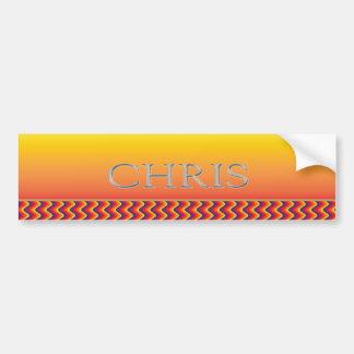 Chris Custom Raised Lettering Bumper Sticker