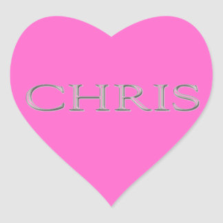 Chris Custom Raised Lettering Heart Sticker