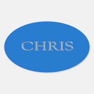 Chris Custom Raised Lettering Oval Sticker