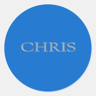 Chris Custom Raised Lettering Round Sticker