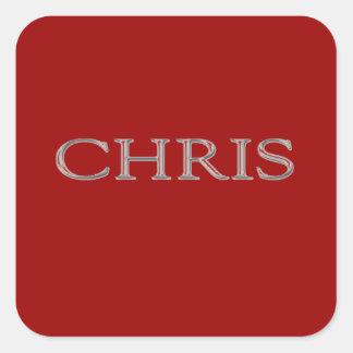 Chris Custom Raised Lettering Square Sticker