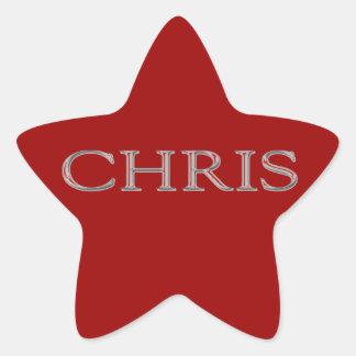 Chris Custom Raised Lettering Star Sticker