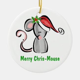 Chris Mouse with Santa Hat & Holly Christmas Ornament