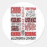 Chris Rybak over over logo Red black Round Sticker