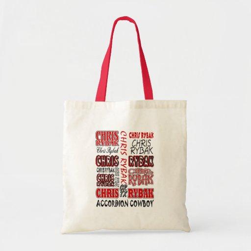 Chris Rybak over over logo Red black Budget Tote Bag