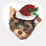 Chrismtas Yorkshire Terrier puppy dog Heart Sticker