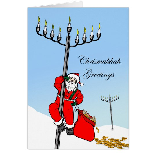 Chrismukkah, Interfaith Holiday, Santa and Menorah Card