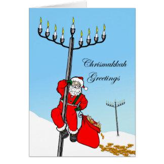 Chrismukkah, Interfaith Holiday, Santa and Menorah Greeting Card