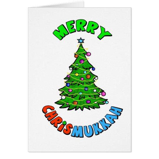 Chrismukkah Star of David Christmas Tree Card