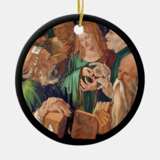Christ Among the Doctors c1506 Round Ceramic Decoration