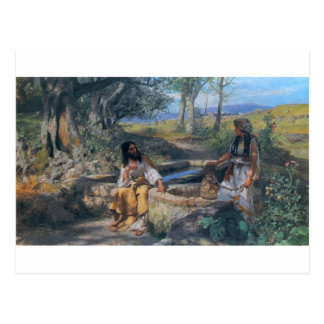 Christ and Samaritan woman circa 1890 Postcard