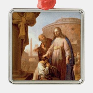 Christ and the Rich Young Ruler, 1640 Silver-Colored Square Decoration