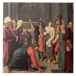 Christ and the Woman Taken in Adultery Tile