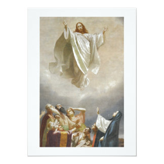 Christ Ascension to Heaven Observed by Apostles 14 Cm X 19 Cm Invitation Card