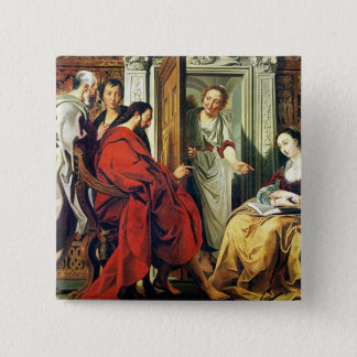 Christ at House of Martha and Mary of Bethany 15 Cm Square Badge