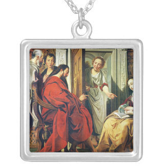 Christ at House of Martha and Mary of Bethany Silver Plated Necklace