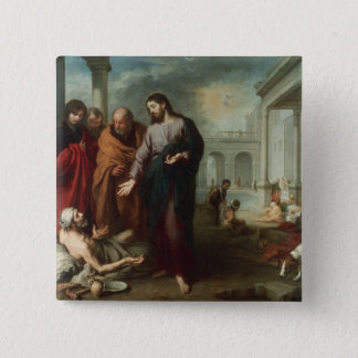 Christ at the Pool of Bethesda, 1667-70 (oil on ca 15 Cm Square Badge